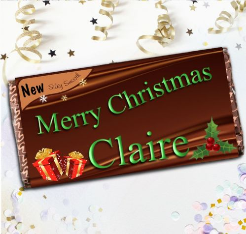 Personalised Original Style Merry Christmas Milk Chocolate Bar - Stocking filler Gift N83